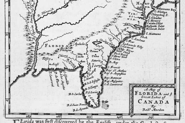 Vintage Map - Map of Florida and ye Great Lakes of Canada